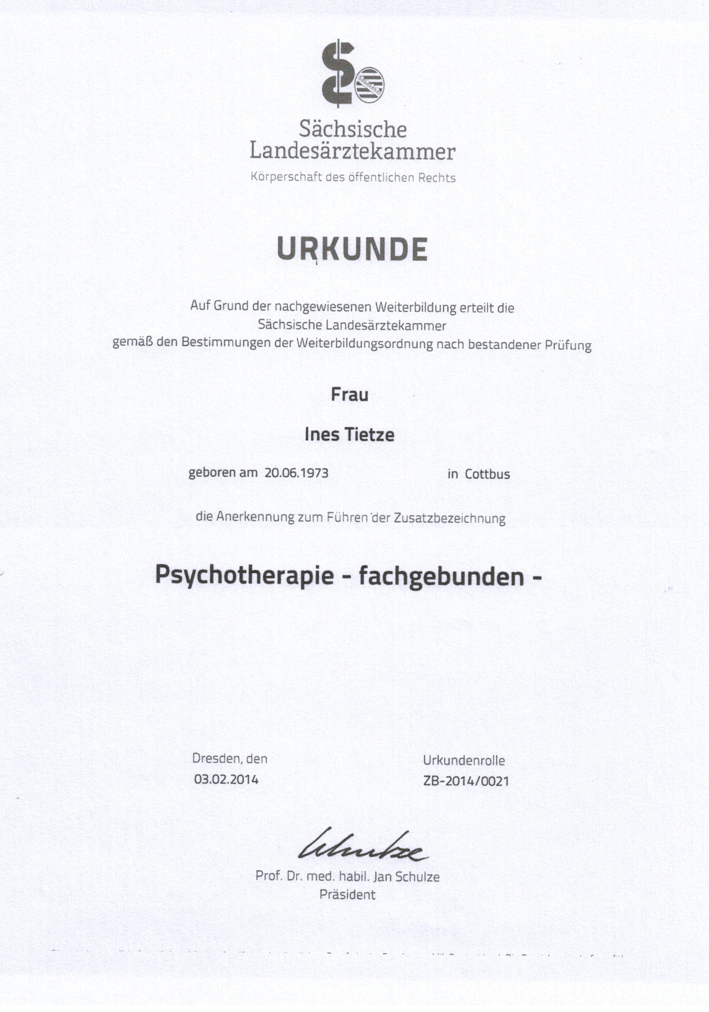 Psychotherapie SLÄK Tietze