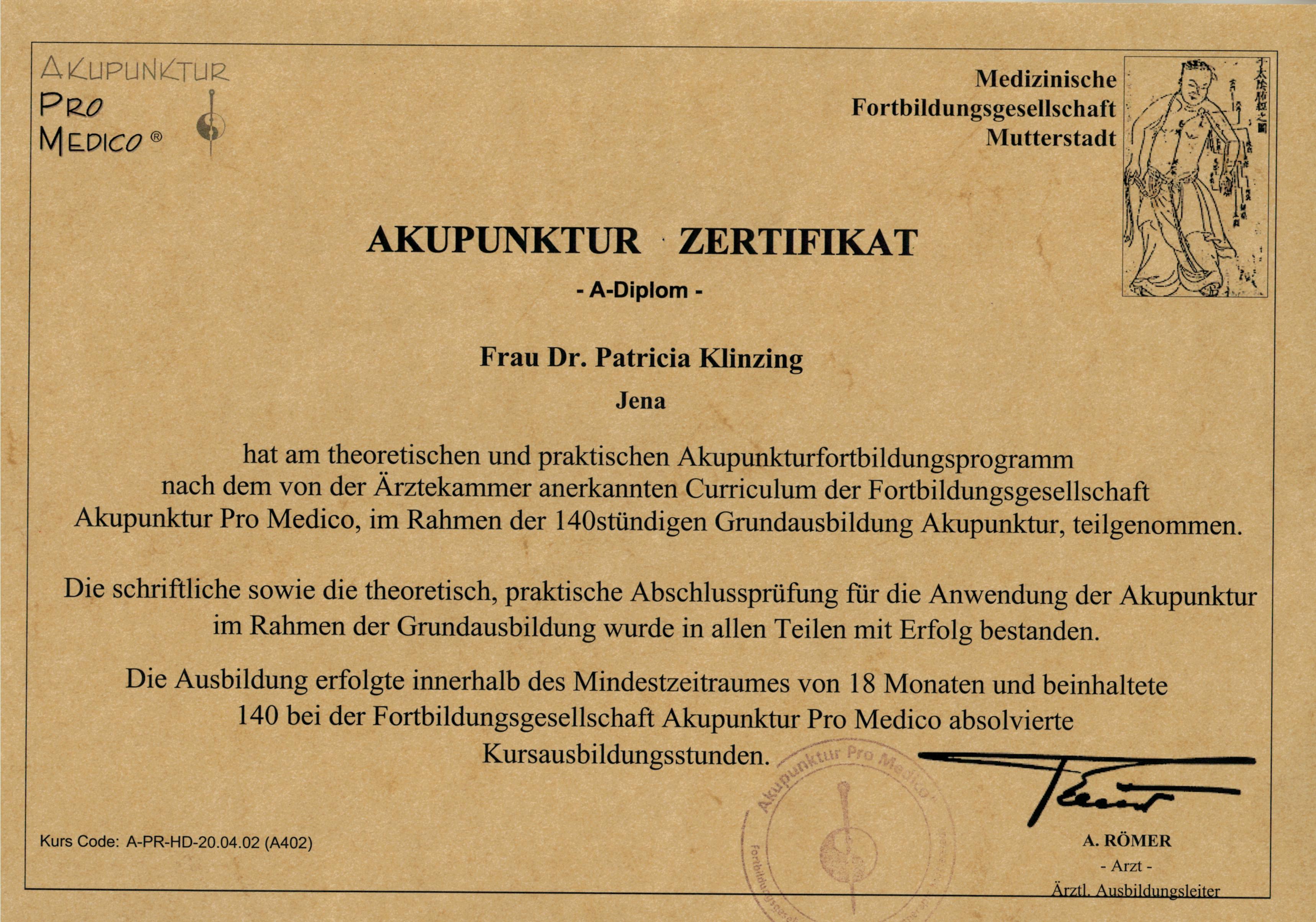 Akupunktur A- Diplom Klinzing